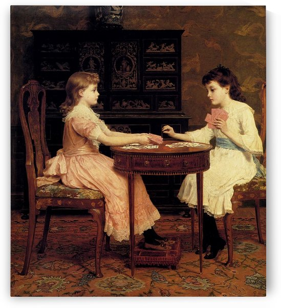Two girls playing cards by Frederick Goodall