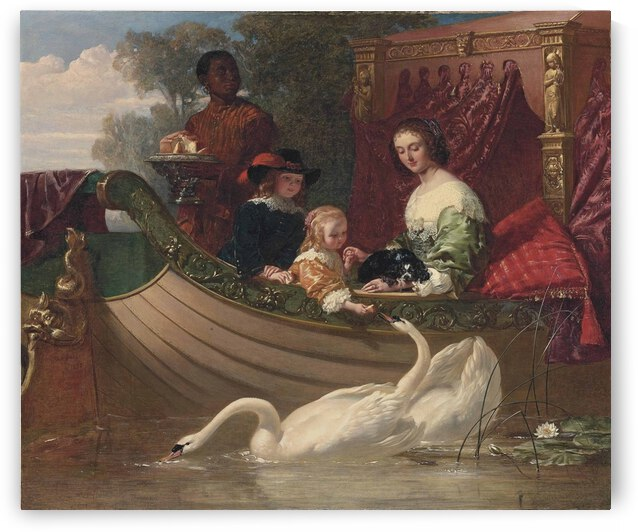 A young family feeding a swan by Frederick Goodall