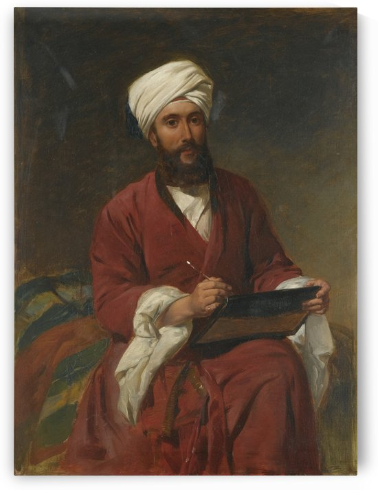 An Oriental man writing by Frederick Goodall
