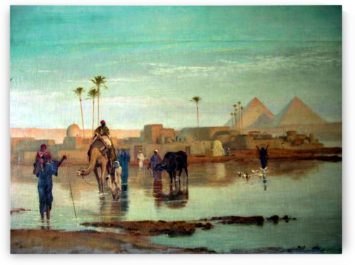 Crossing the river with the camels by Frederick Goodall