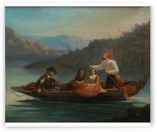 Crossing the river with a boat by Frederick Goodall