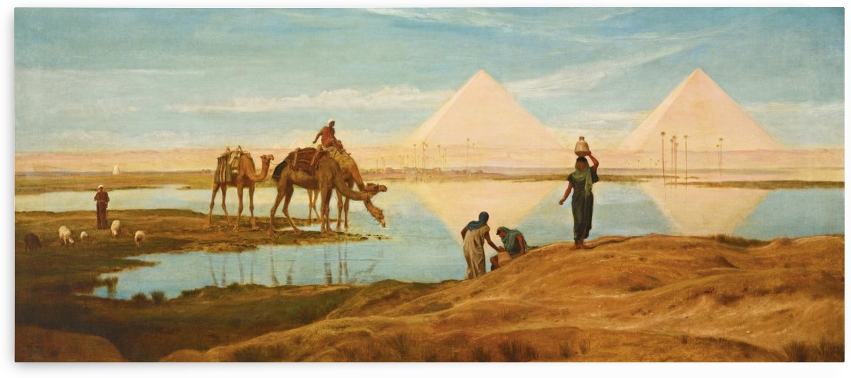 People and camels by the pyramids by Frederick Goodall