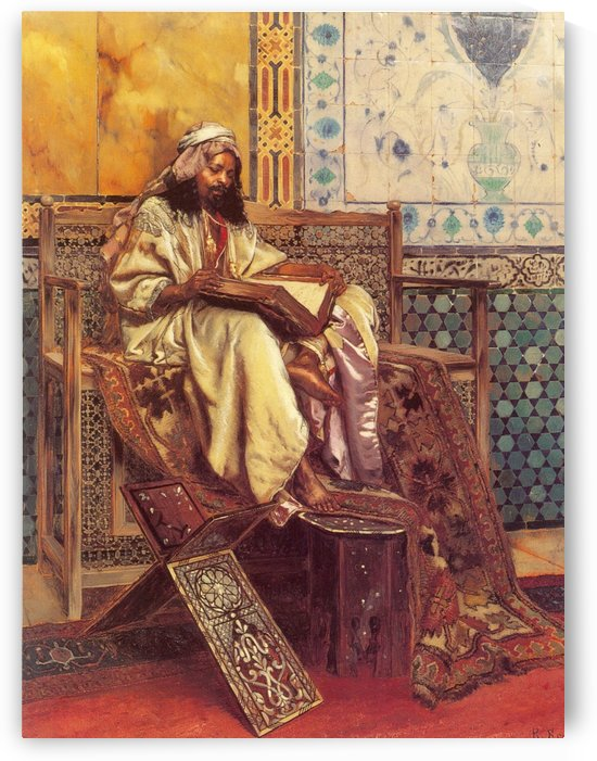 An Oriental man reading by Frederick Goodall