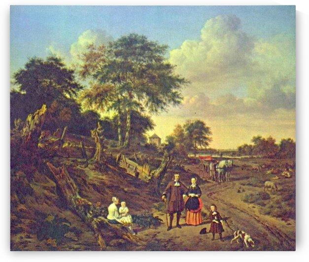 A village scene by Leonardo de Mango