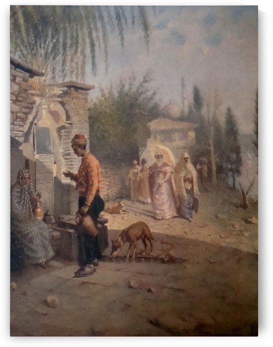 An Oriental man at a fountain by Leonardo de Mango