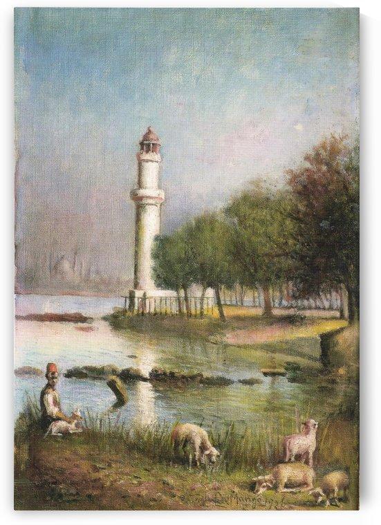 A turkish minaret and a few sheep by Leonardo de Mango