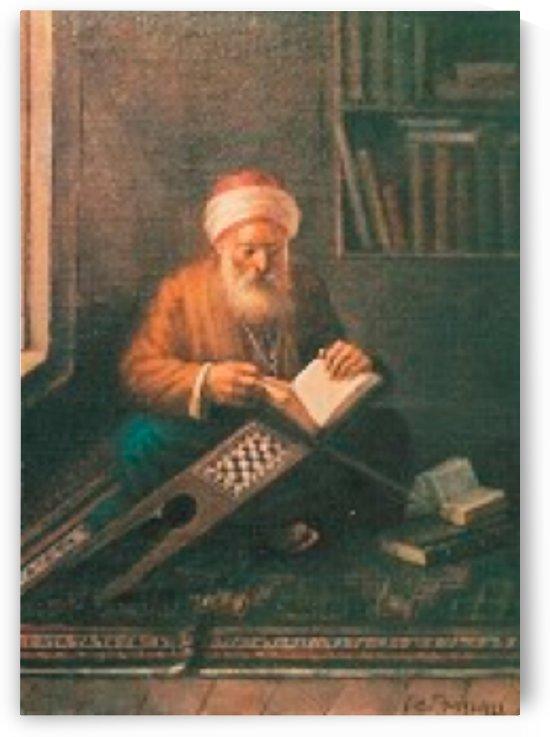 An old man reading and praying by Leonardo de Mango