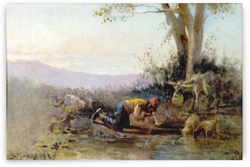 A man drinking from a river by Leonardo de Mango