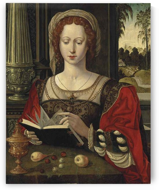 Saint Mary Magdalene reading, at a table by Pieter Coecke van Aelst