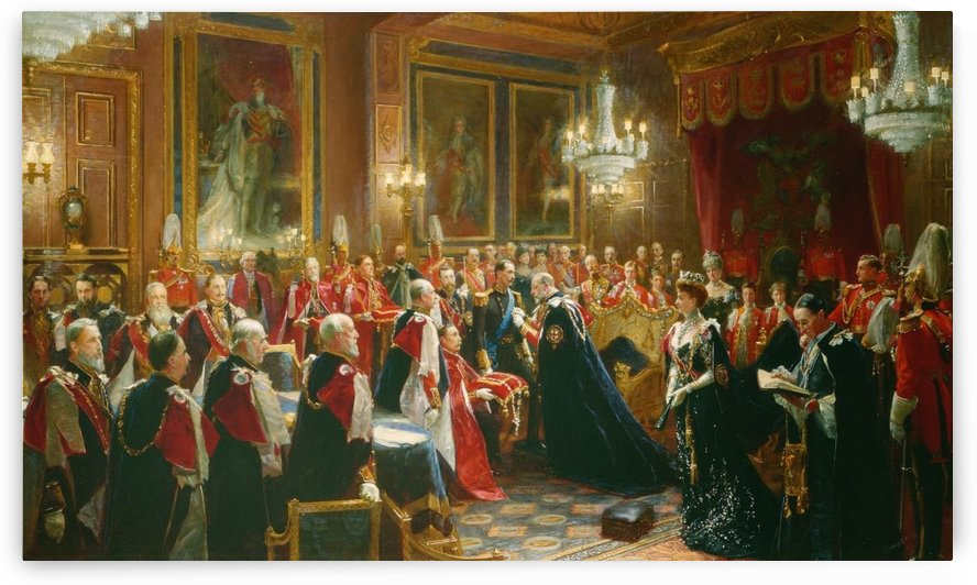 Investiture of Haakon VII, King of Norway with the Order of the Garter by Sydney Prior Hall