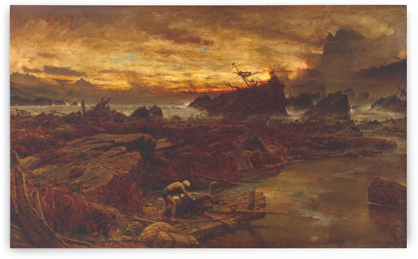 A shipwreck by the stormy sea by Albert Goodwin
