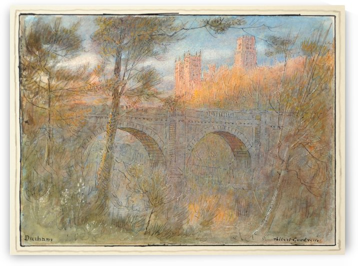 A bridge in an old city by Albert Goodwin