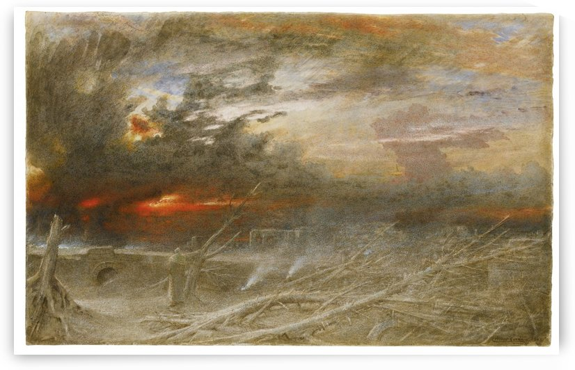 A windy day in sunset by Albert Goodwin