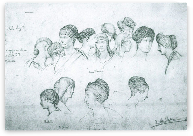 Sketch of hairstyles from ancient sculptures by Alma-Tadema by Alma-Tadema