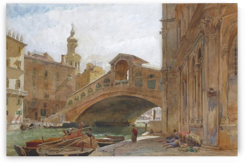 Landscape near a bridge by Edward Angelo Goodall