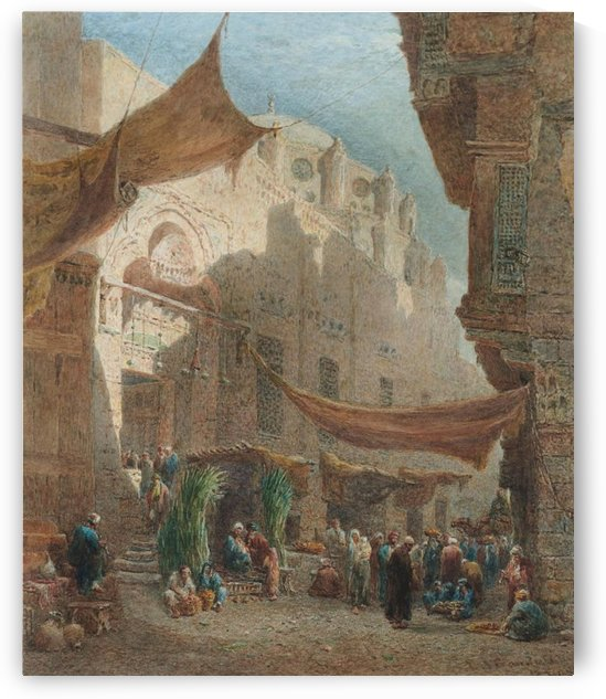 A market outside the Abul Dahab Mosque by Edward Angelo Goodall