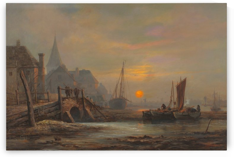 Sunset in a port by John Wilson Carmichael