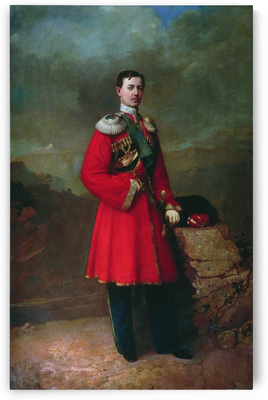 A military man in a red coat by Sergei Konstantinovich Zaryanko