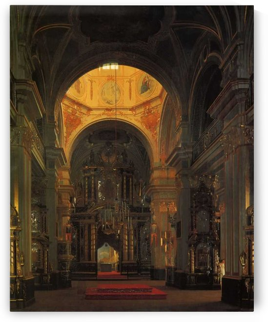 Interior of a cathedral by Sergei Konstantinovich Zaryanko