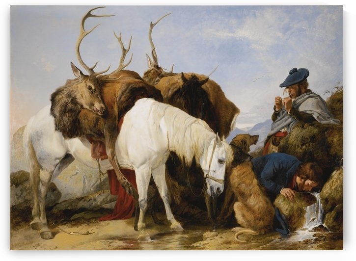 A man and his after the hunt by Richard Ansdell