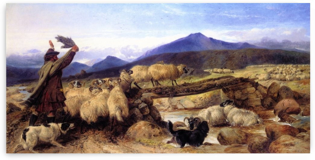 Crossing the mountains with sheep by Richard Ansdell