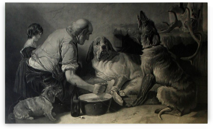 A family washing their dogs by Richard Ansdell
