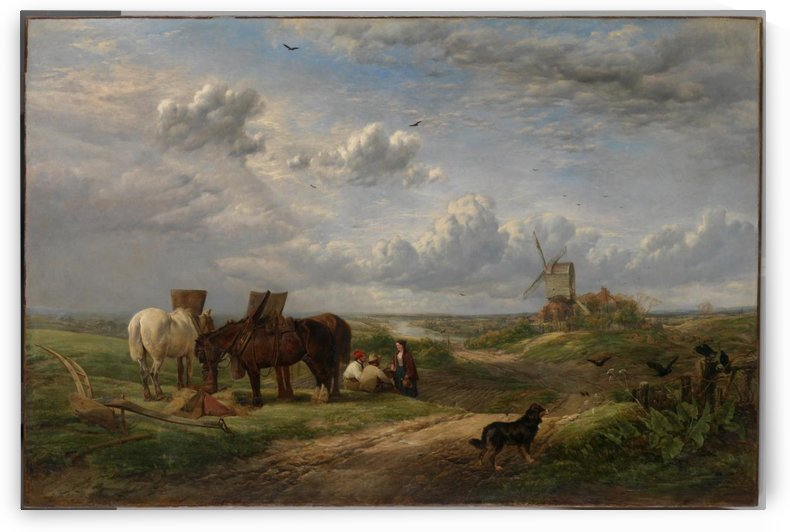 Landscape of harvesting the crops by Richard Ansdell