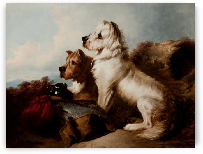 Two dogs guarding the fish by Richard Ansdell