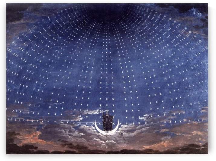 Stage set for Mozart's Magic Flute by Karl Friedrich Schinkel