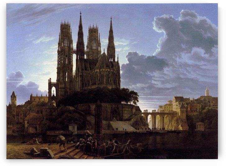 Medieval town by Karl Friedrich Schinkel