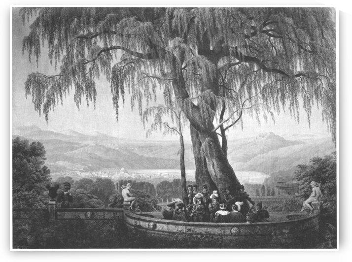 Landschaft mit Trauerweide by Karl Friedrich Schinkel