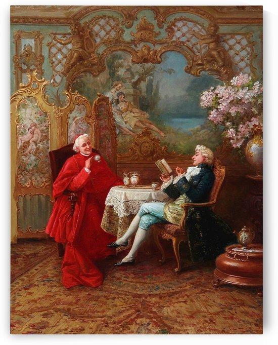 A cardinal and a nobleman having tea by Stephan Sedlacek