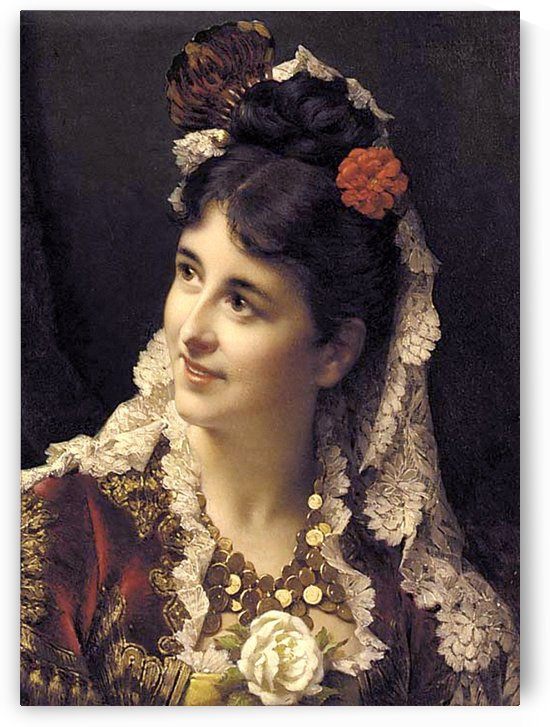 A woman with a red flower by Stephan Sedlacek