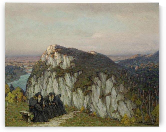 A group of monks praying by Sergei Semenovich Egornov