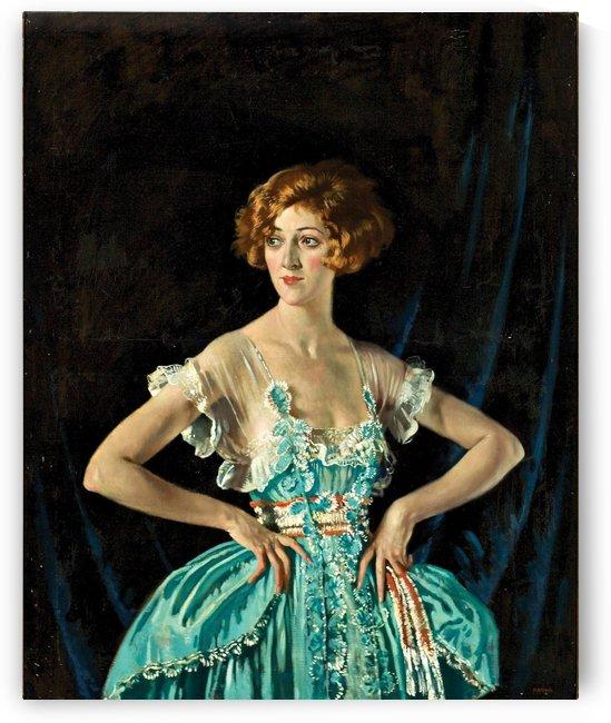 A young woman in a blue dress by Sergei Semenovich Egornov