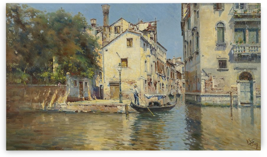 A gondola on the Venice streets by Antonio Maria de Reyna Manescau