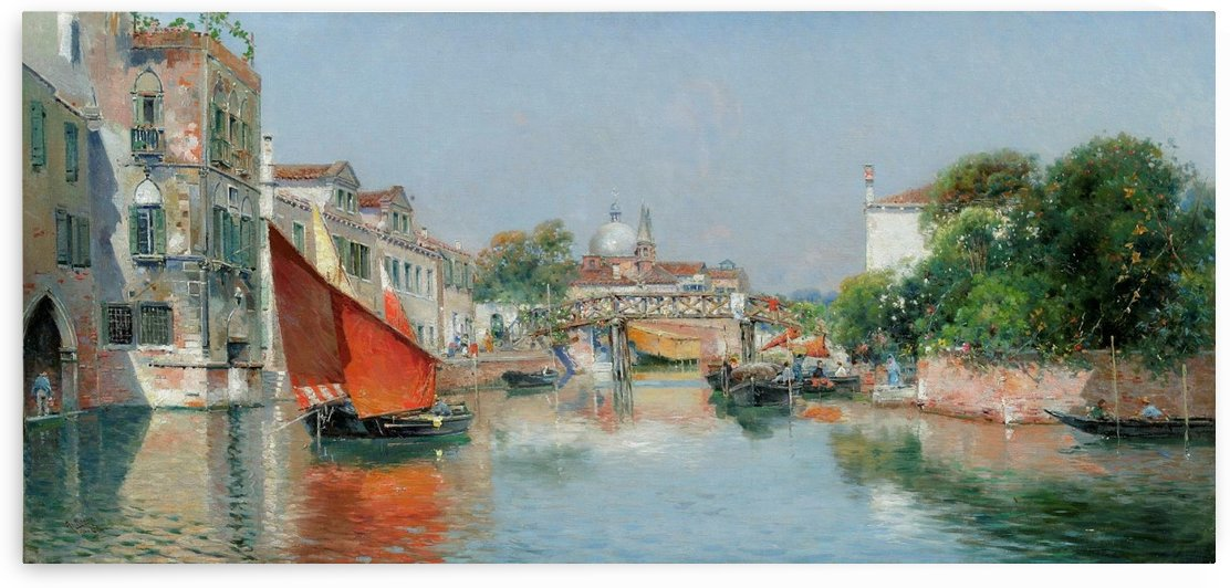 Landscape with a bridge in Venice by Antonio Maria de Reyna Manescau