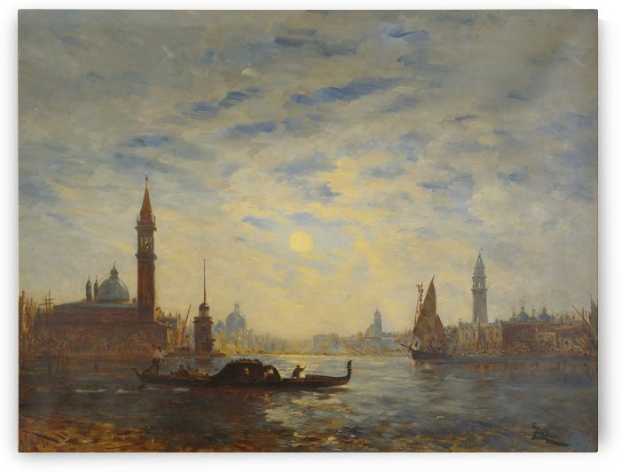 Crossing the canal in a gondola by Antonio Maria de Reyna Manescau