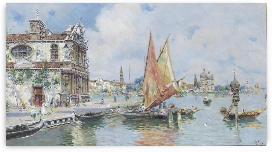 Boats coming into the port by Antonio Maria de Reyna Manescau