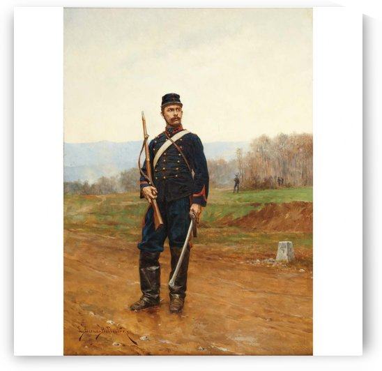Portrait of a solider by Etienne-Prosper Berne-Bellecour