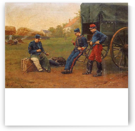 A gathering of military men by Etienne-Prosper Berne-Bellecour