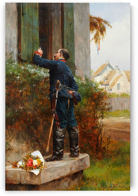 A solider watching at a window of a tavern by Etienne-Prosper Berne-Bellecour