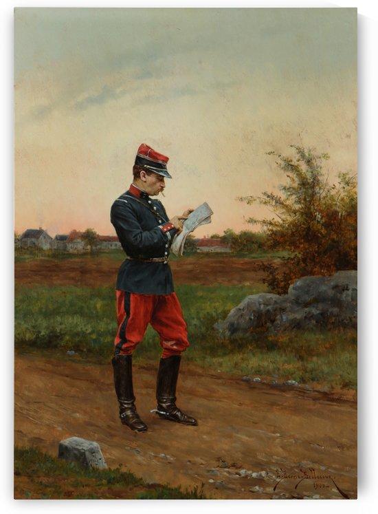 A solider taking notes by Etienne-Prosper Berne-Bellecour