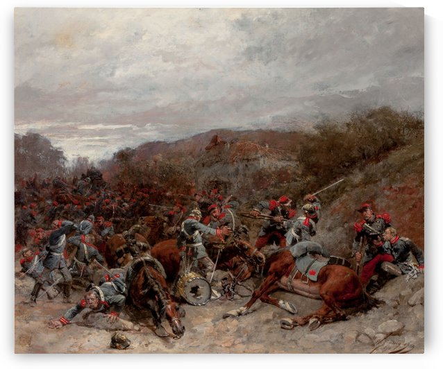 Battle Scene from the Franco-Prussian War by Etienne-Prosper Berne-Bellecour