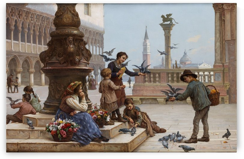 Tauben futternde Kinder inVenedig by Antonio Ermolao Paoletti