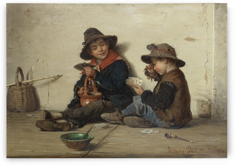Two children playing cards by Antonio Ermolao Paoletti