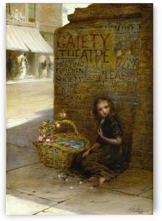 A little girl selling flowers by Antonio Ermolao Paoletti
