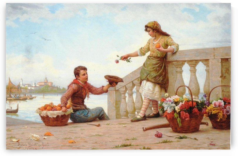 A boy and a girl with flowers by Antonio Ermolao Paoletti