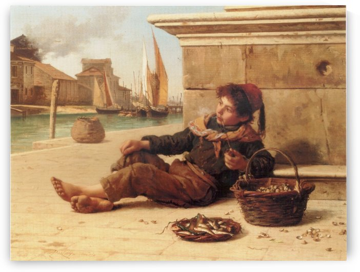 A young boy selling fish by Antonio Ermolao Paoletti