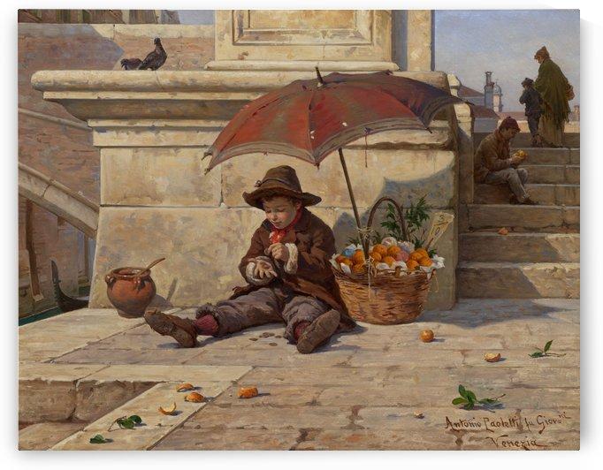 An oranges vendor under an umbrella by Antonio Ermolao Paoletti